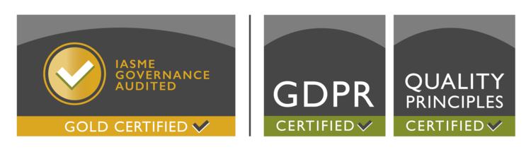IASME Governance Audited, GDPR Certified, Quality Principles Certified